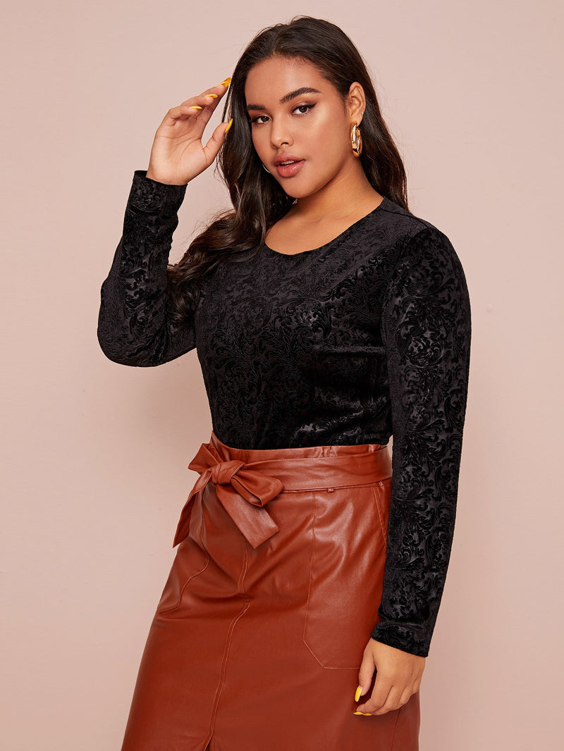 Plus Size Sexy Velvet Diva Bodysuit Top