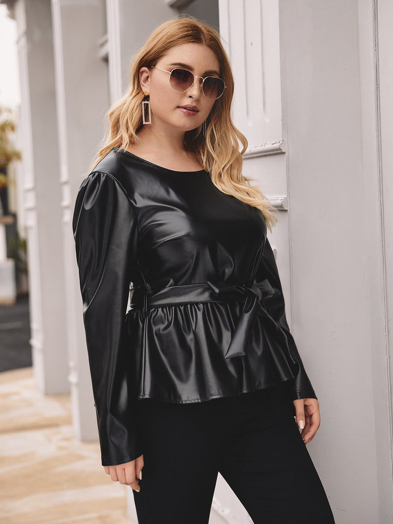 Plus Size Chic Self Tie Pu Leather Peplum Blouse Top