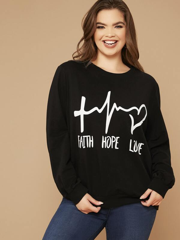 Plus Size Letter Graphic Sweatshirt