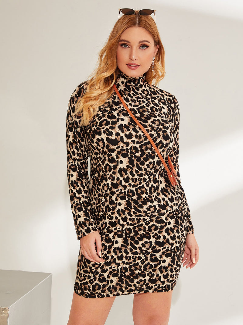Plus Size High Neck Leopard Print Bodycon Dress