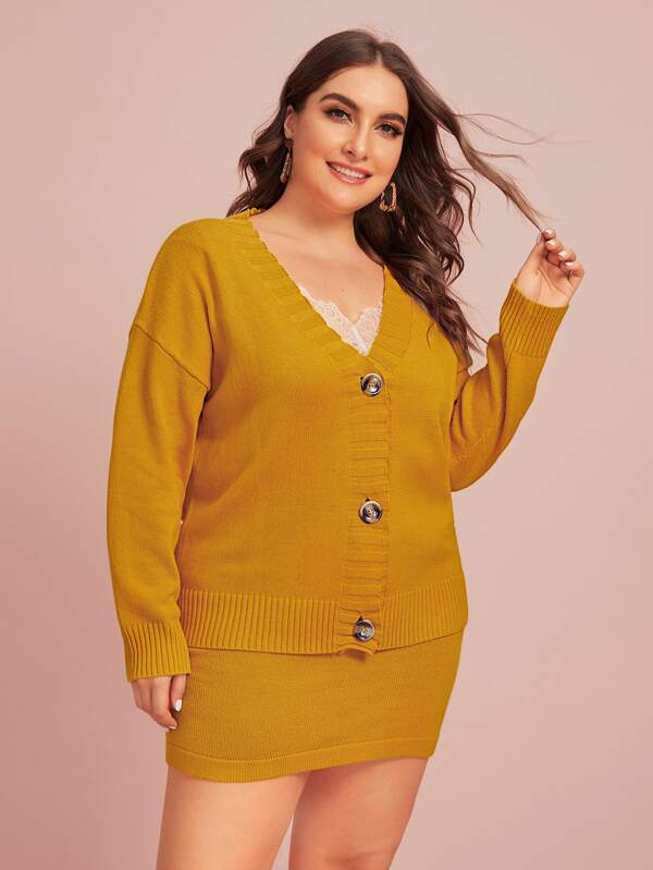 Plus Size Drop Shoulder Single Breasted Cardigan & Sweater Skirt Set