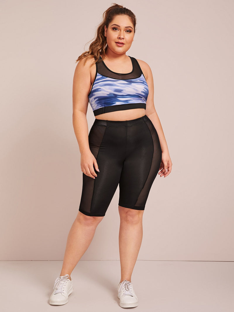 Plus Size Sporty Mesh Insert Racer Back Top
