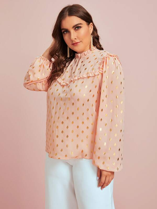 Plus Size Ruffle Trim Gold Dot Print Top