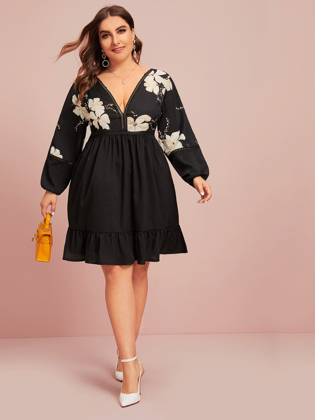 Plus Size Deep V-neck Floral Print A-line Dress