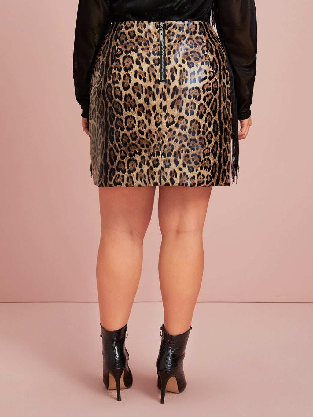 Plus Size Exotic Leopard Print PU Leather Skirt