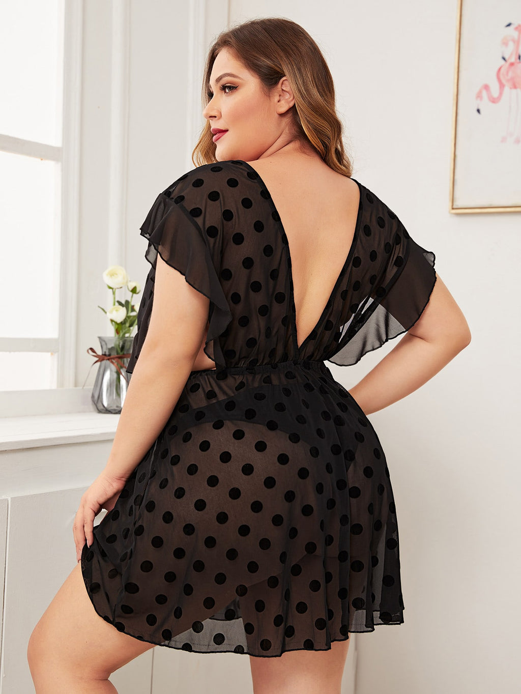 Plus Size Elegant Polka Dot Ruffle Night Dress
