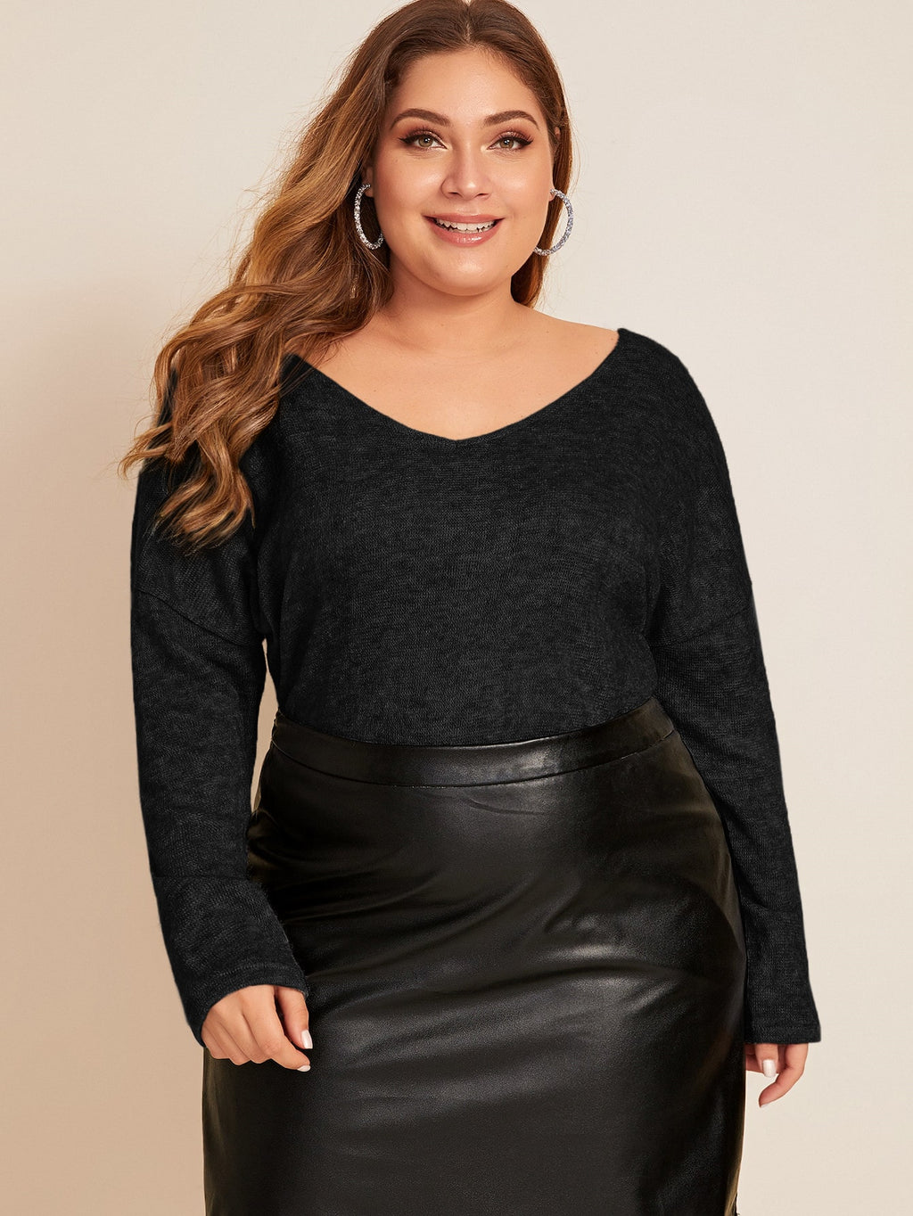 Plus Size Sexy Back Lace Sweater Top
