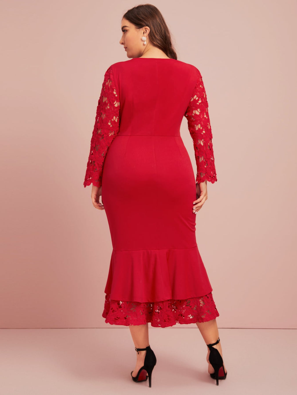 Plus Size Bodycon Mermaid Lace Sleeve Dress