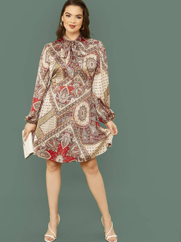Plus Size Tie Neck Lantern Sleeve Scarf Print Flare Dress