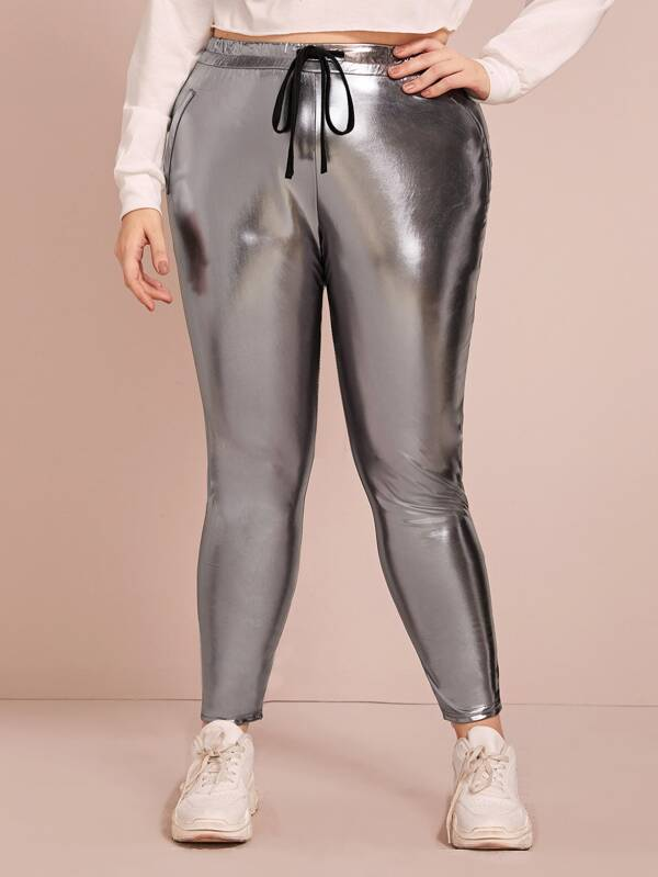 Plus Size Drawstring Metallic PU Leather Skinny Pants