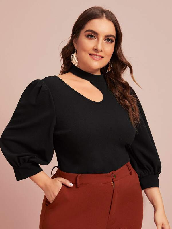 Plus Size Cut Out Shoulder Balloon Sleeve Top