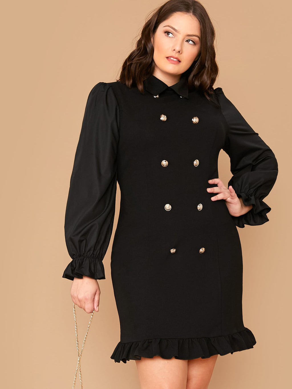 Plus Size Chic Cadet Double Breasted Dress