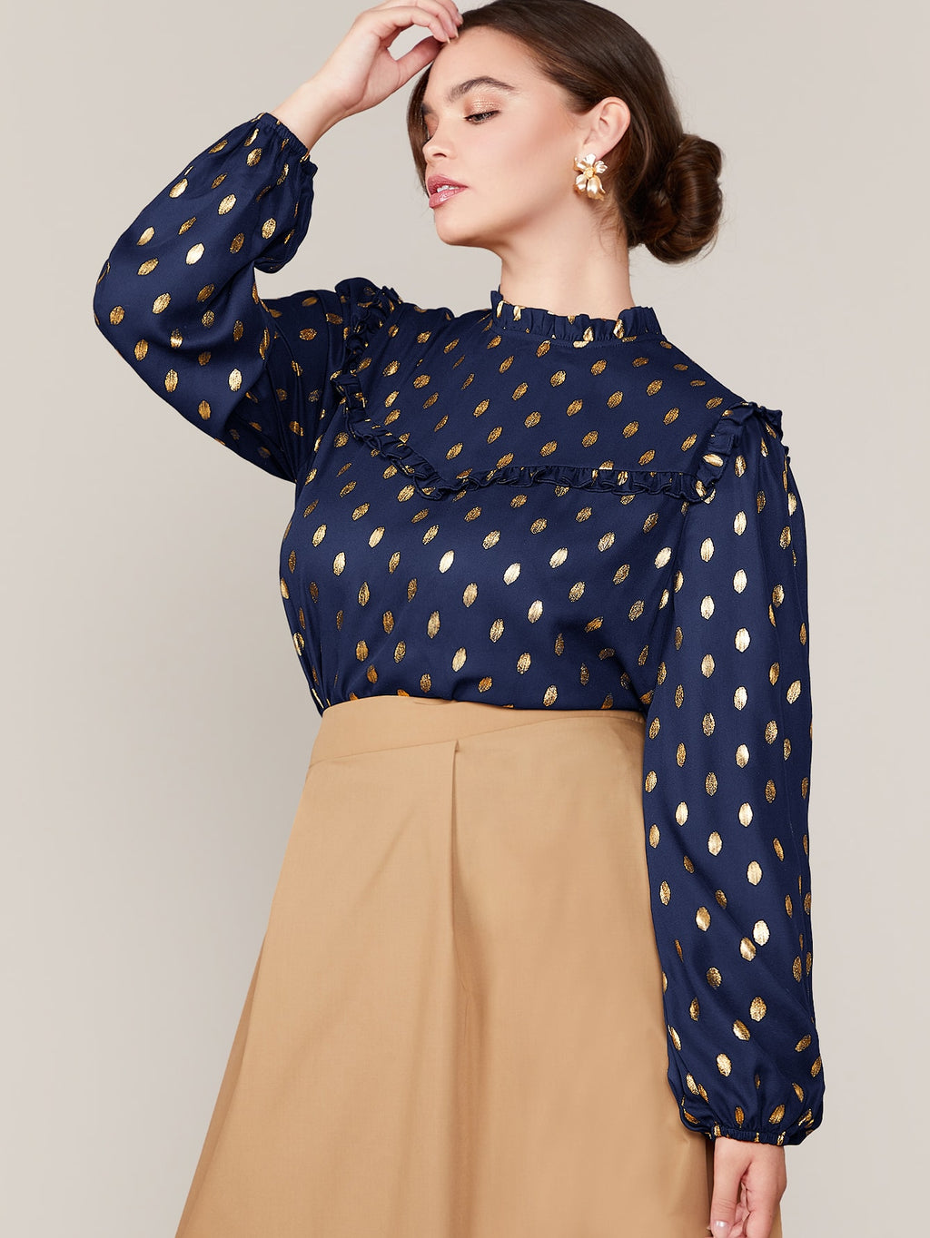 Plus Size Elegant Gold Polka Dot Top