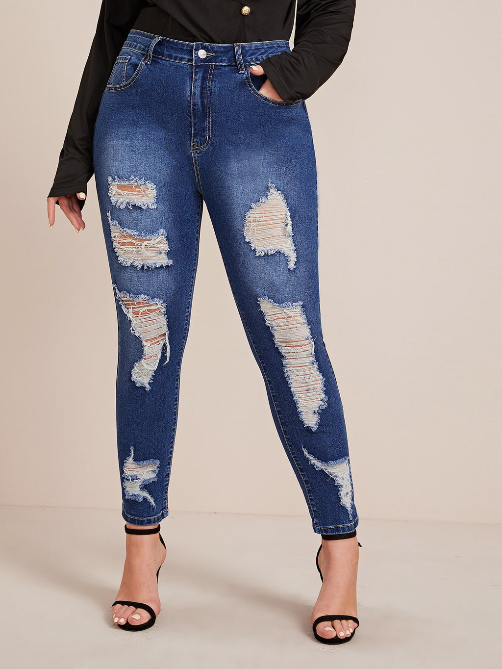 Plus Size Distressed Bleached Wash Ripped Skinny Jeans