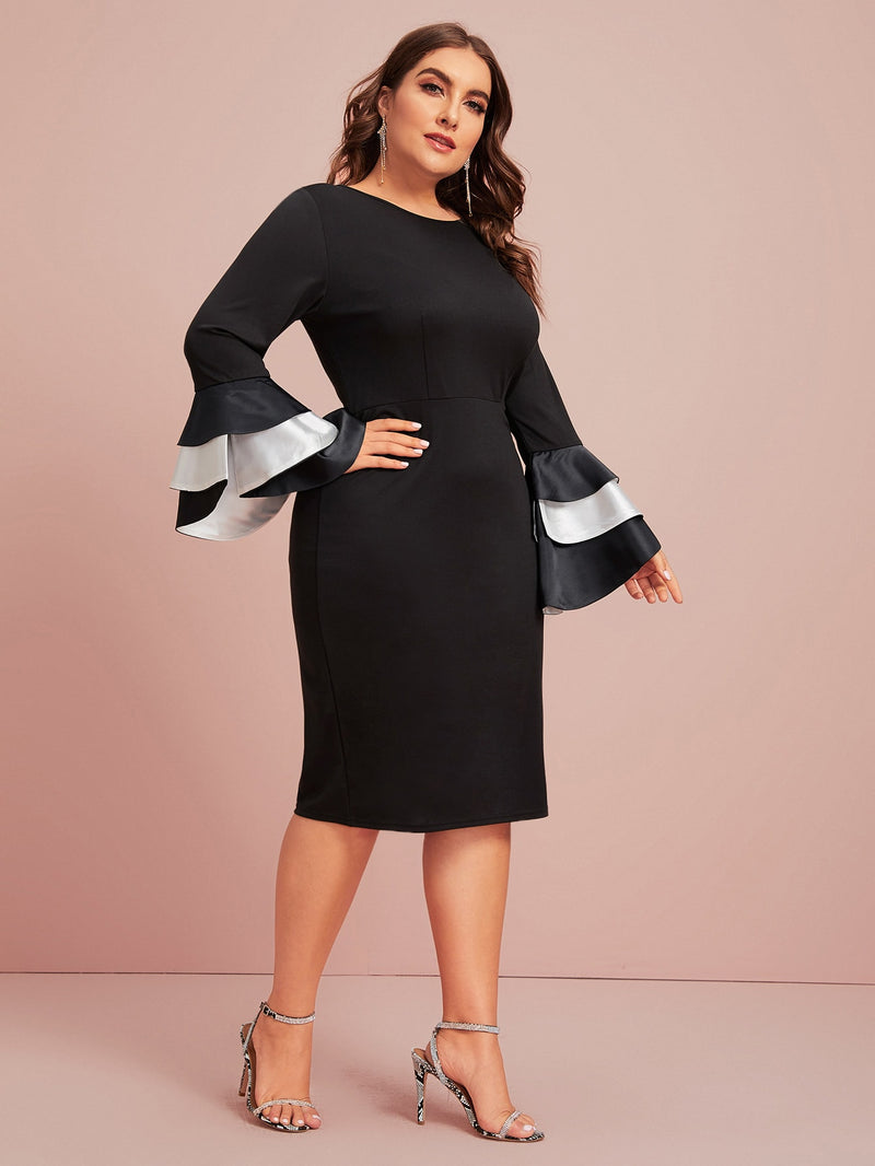 Plus Size Layered Sleeve Zip Back Cocktail Dress