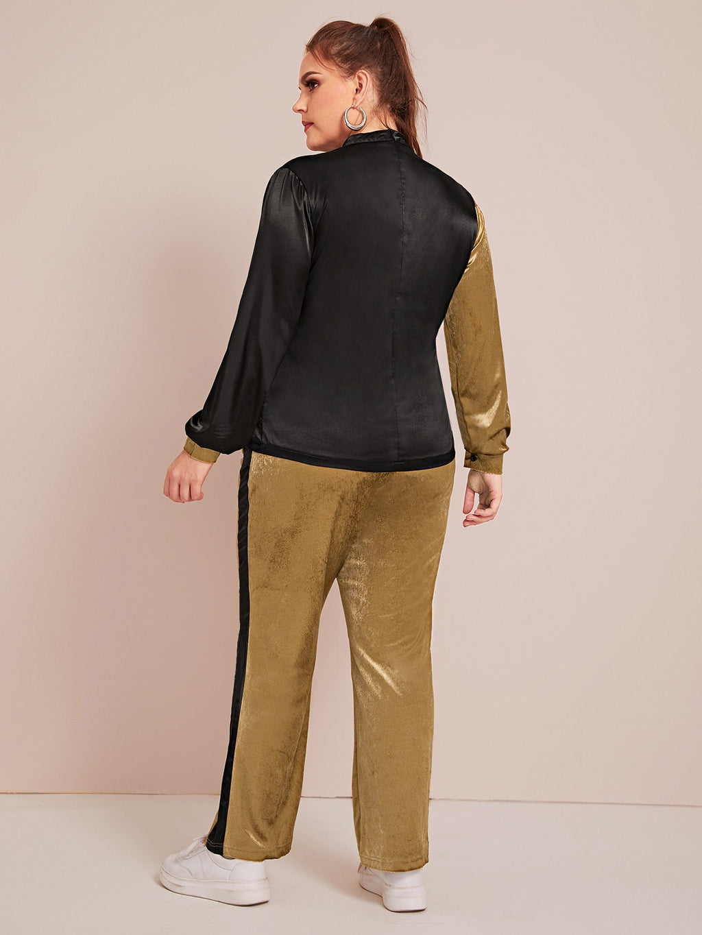 Plus Size Mock Neck Two Tone Velvet Top With Pants