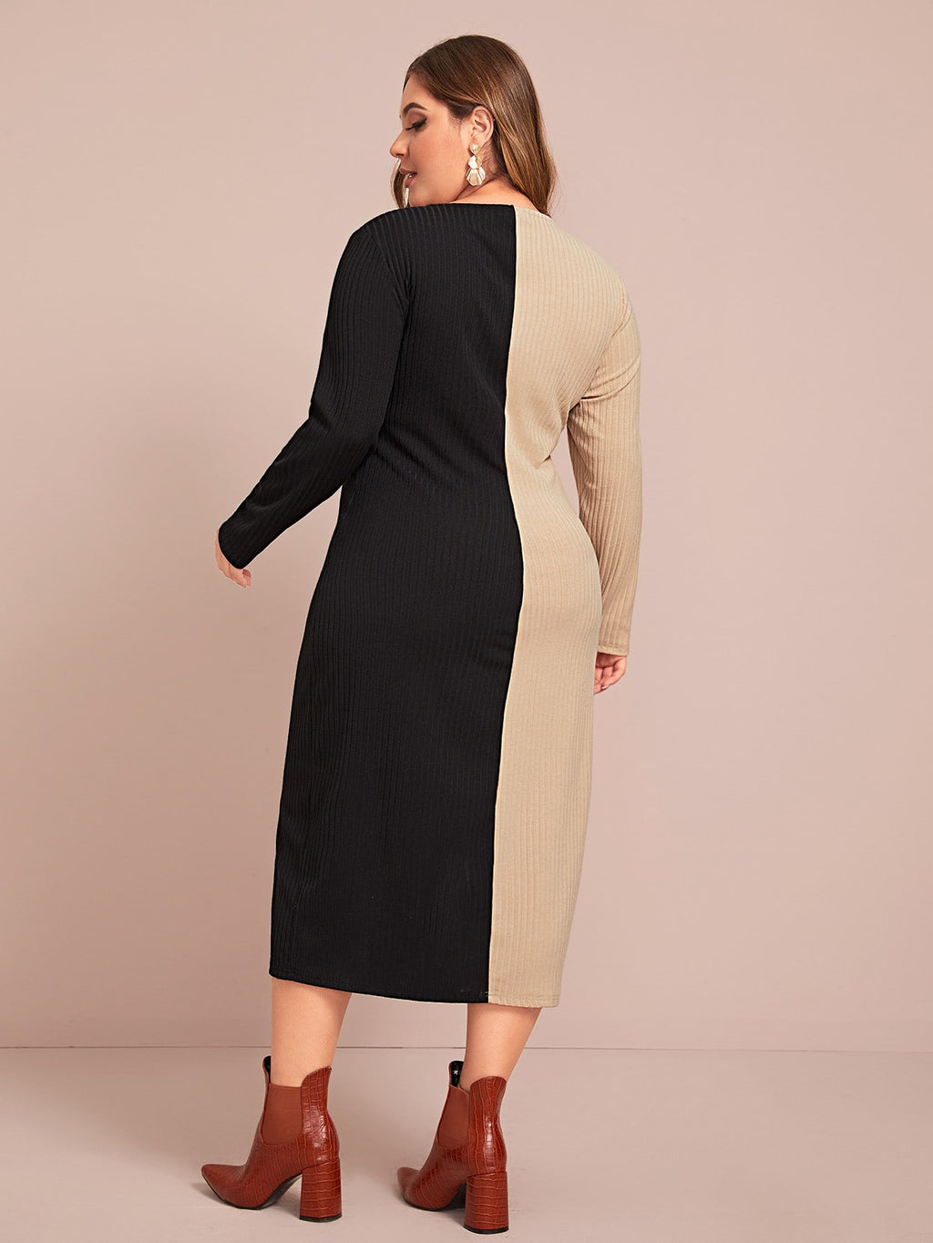 Plus Size Soft Rib-knit Two Tone Dress Without Belt