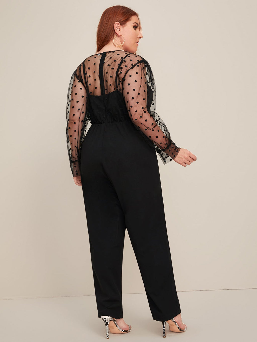 Plus Size Mesh Bodice Zip Back Jumpsuit Without Belt