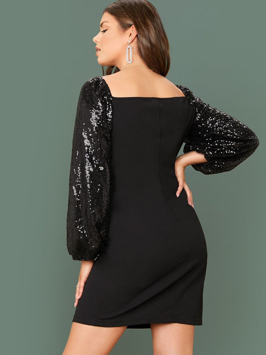 Plus Size Night Out Sparkling Sequin Sleeve Dress