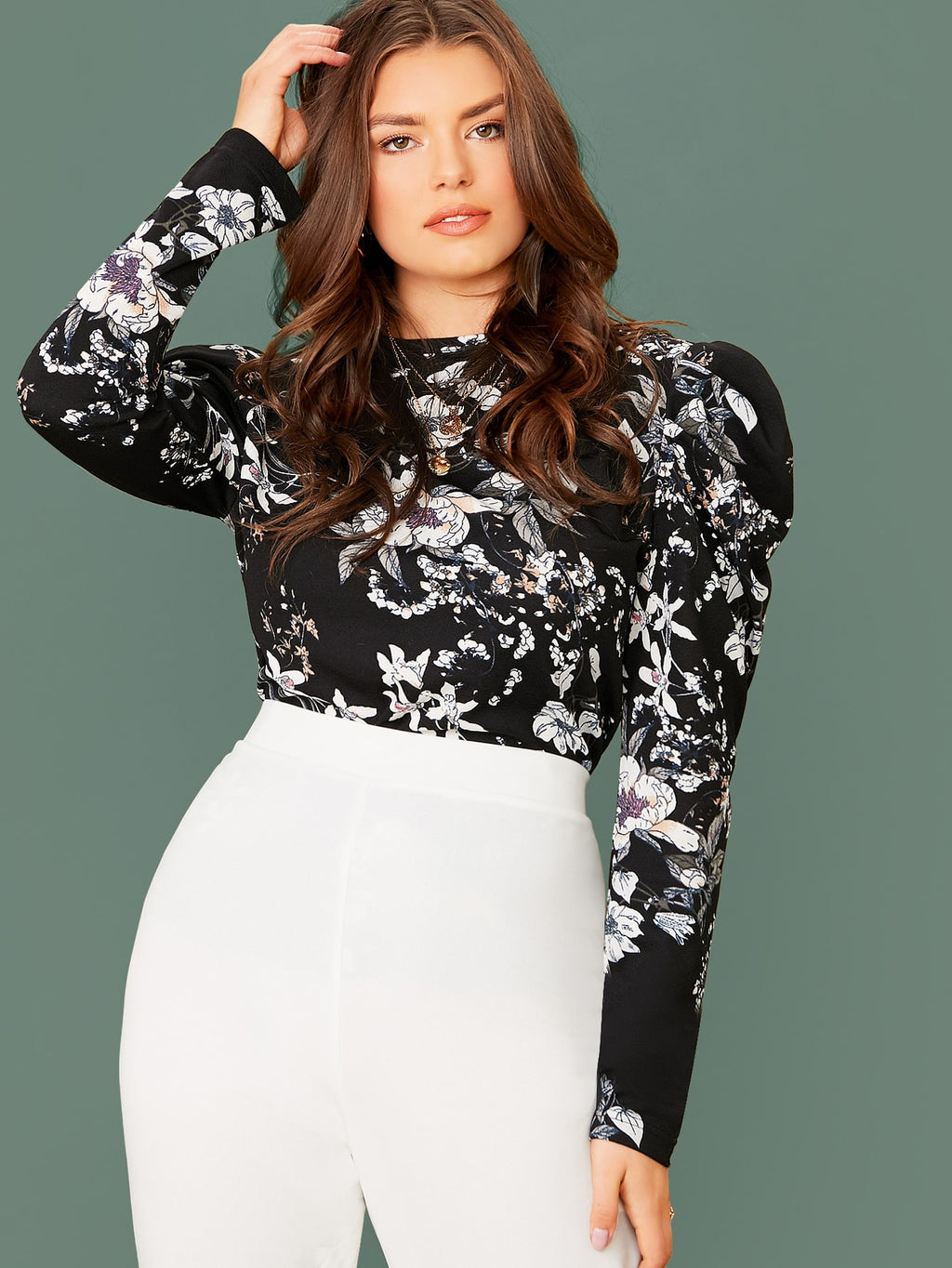 Plus Size Sexy Floral Bold Shoulder Top
