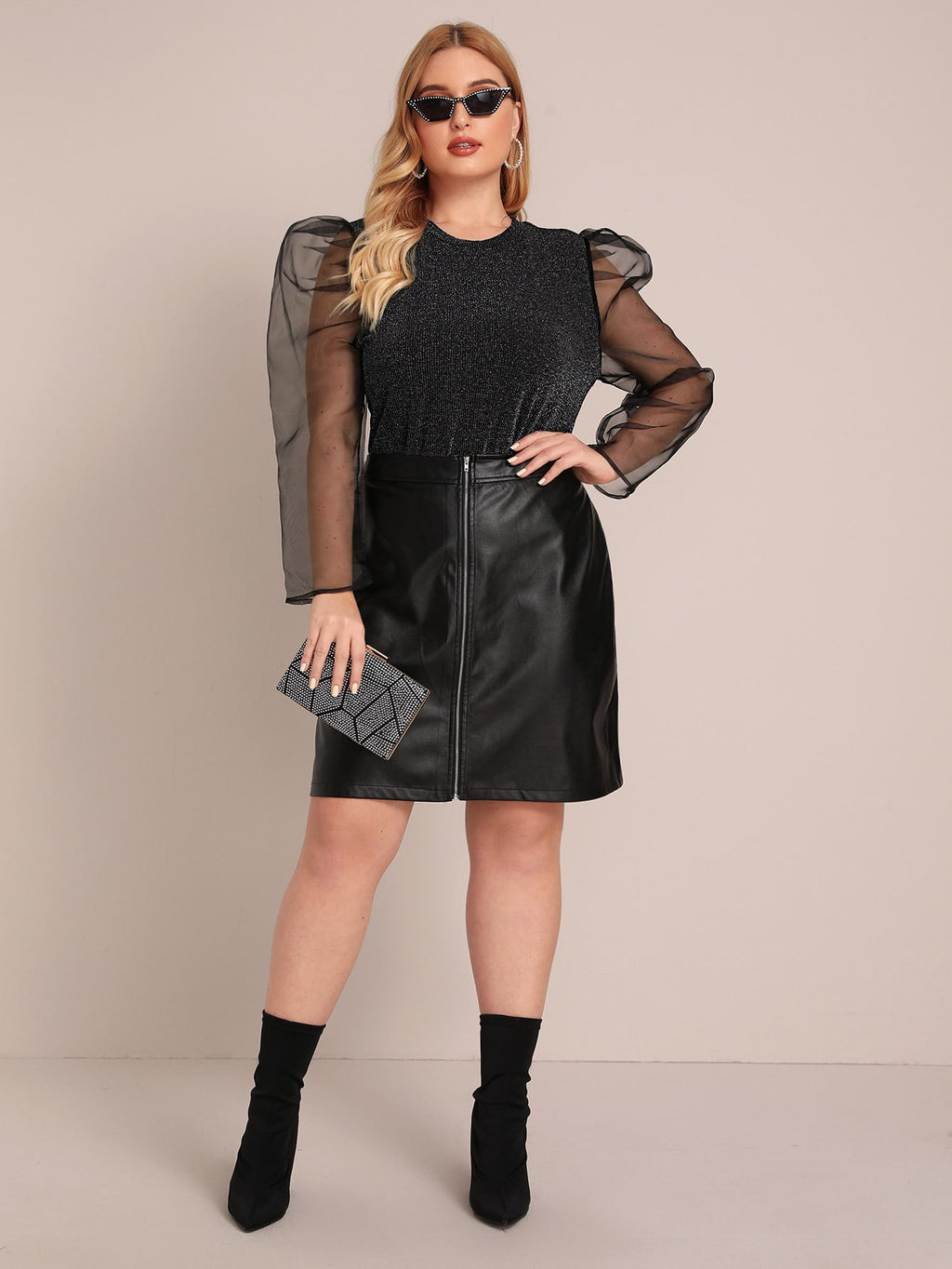 Plus Size Bold Mesh Puff Sleeve Sparkling Top