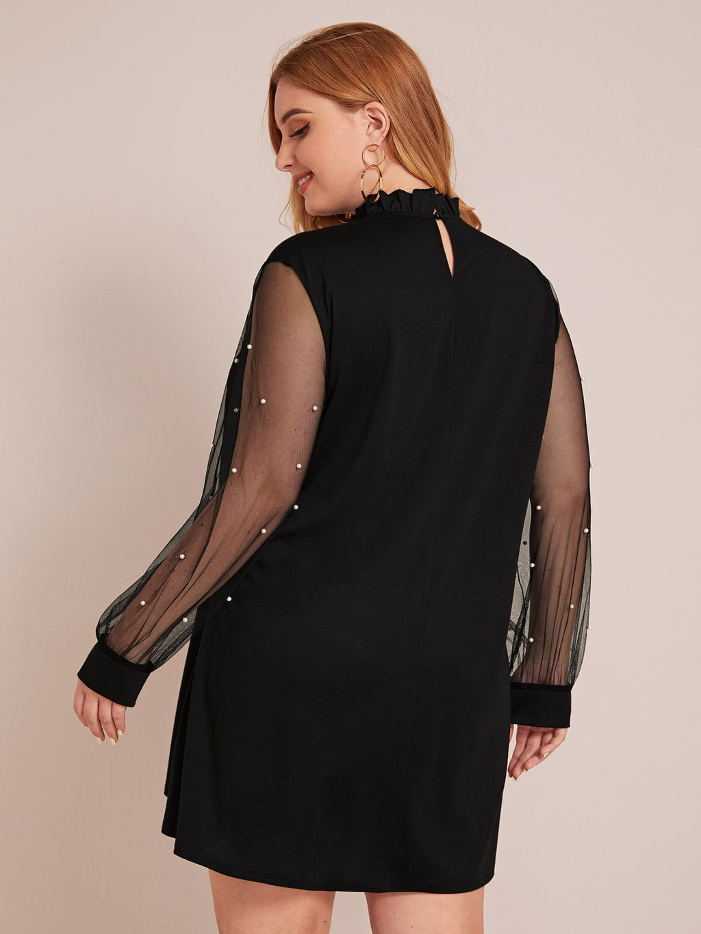 Plus Size See Through Mesh Panel Tunic Dress