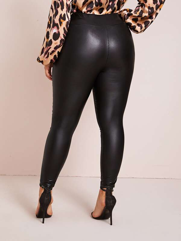 Plus Size Faux Leather Solid Leggings