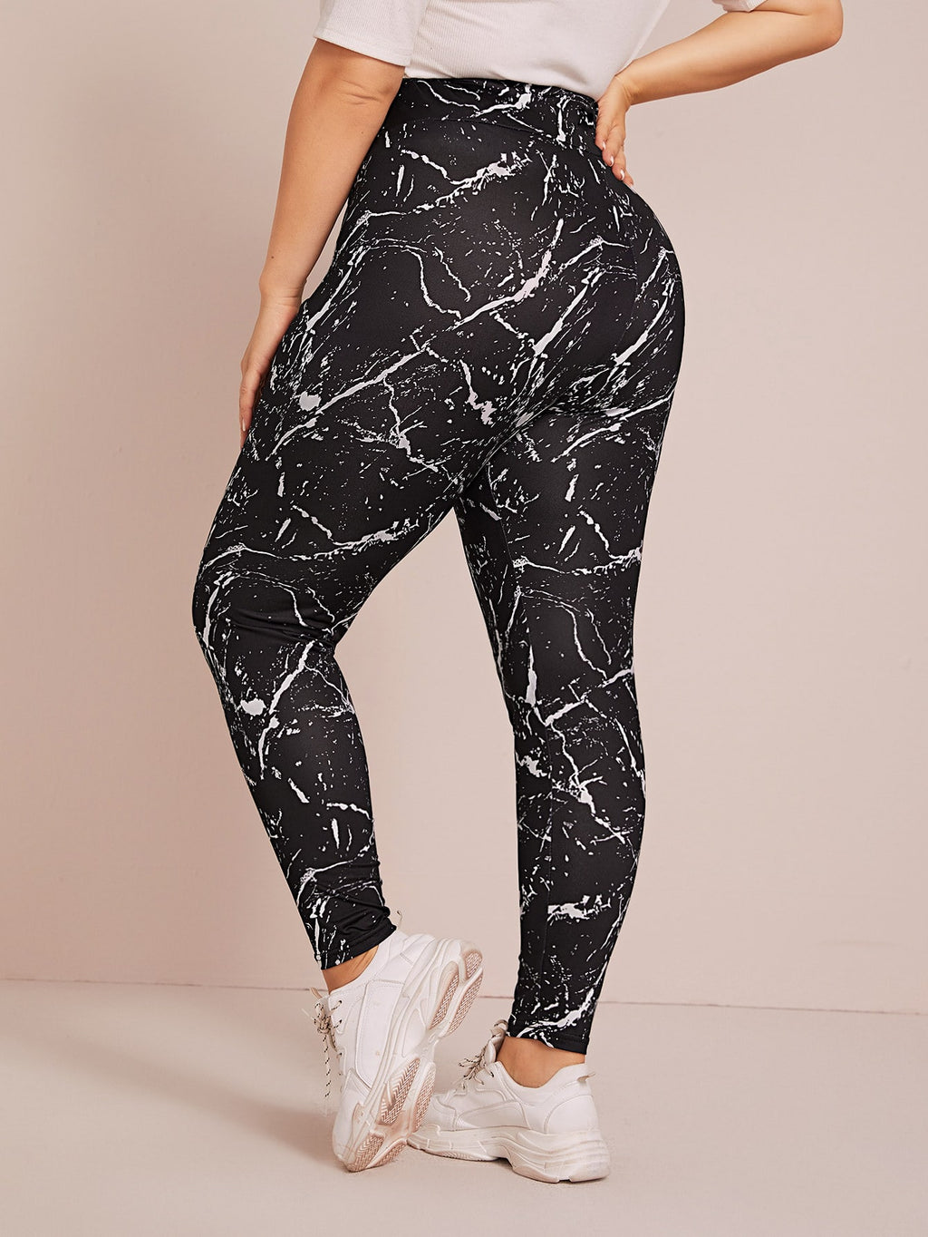 Plus Size Trendy Allover Print Wide Band Waist Leggings