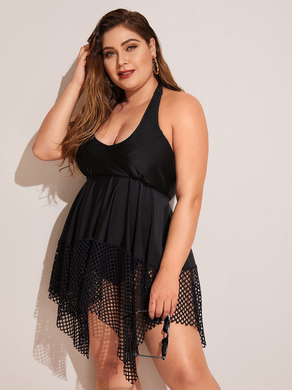 Plus Size Asymmetrical Hem Top With High Waist Bikini