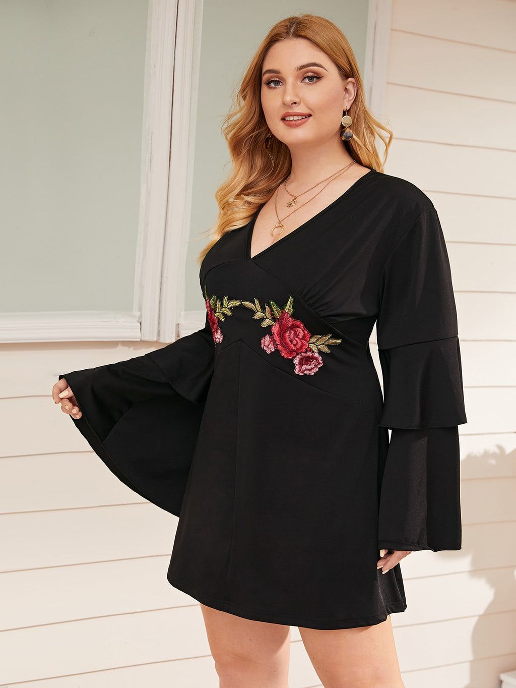 Plus Size Embroidered Floral Flounce Sleeve Dress