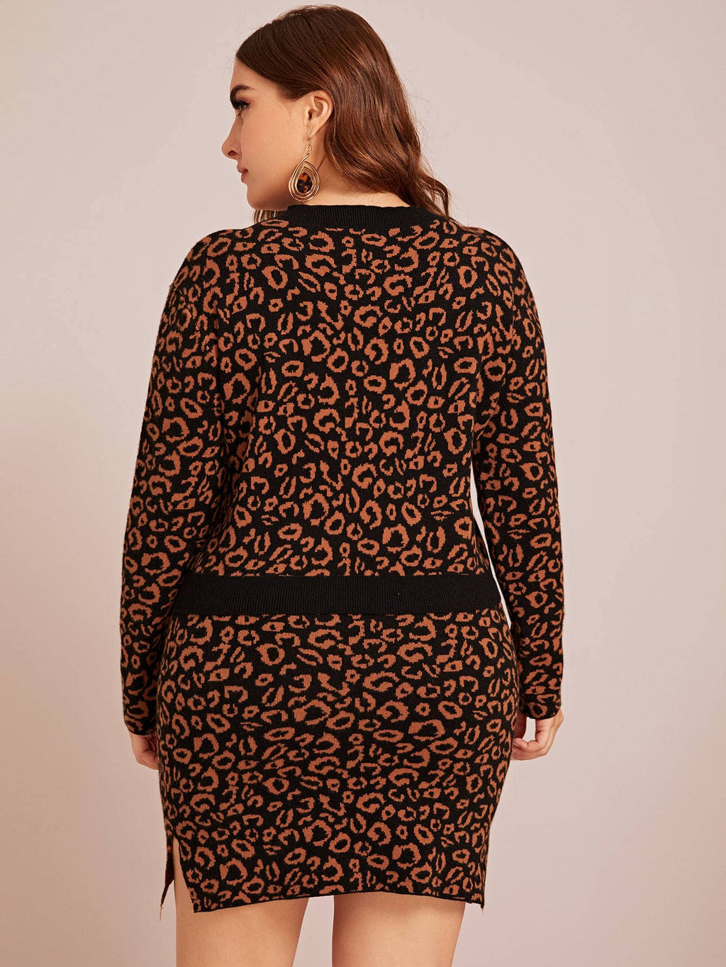 Plus Size Leopard Sweater & Split Hem Skirt Set