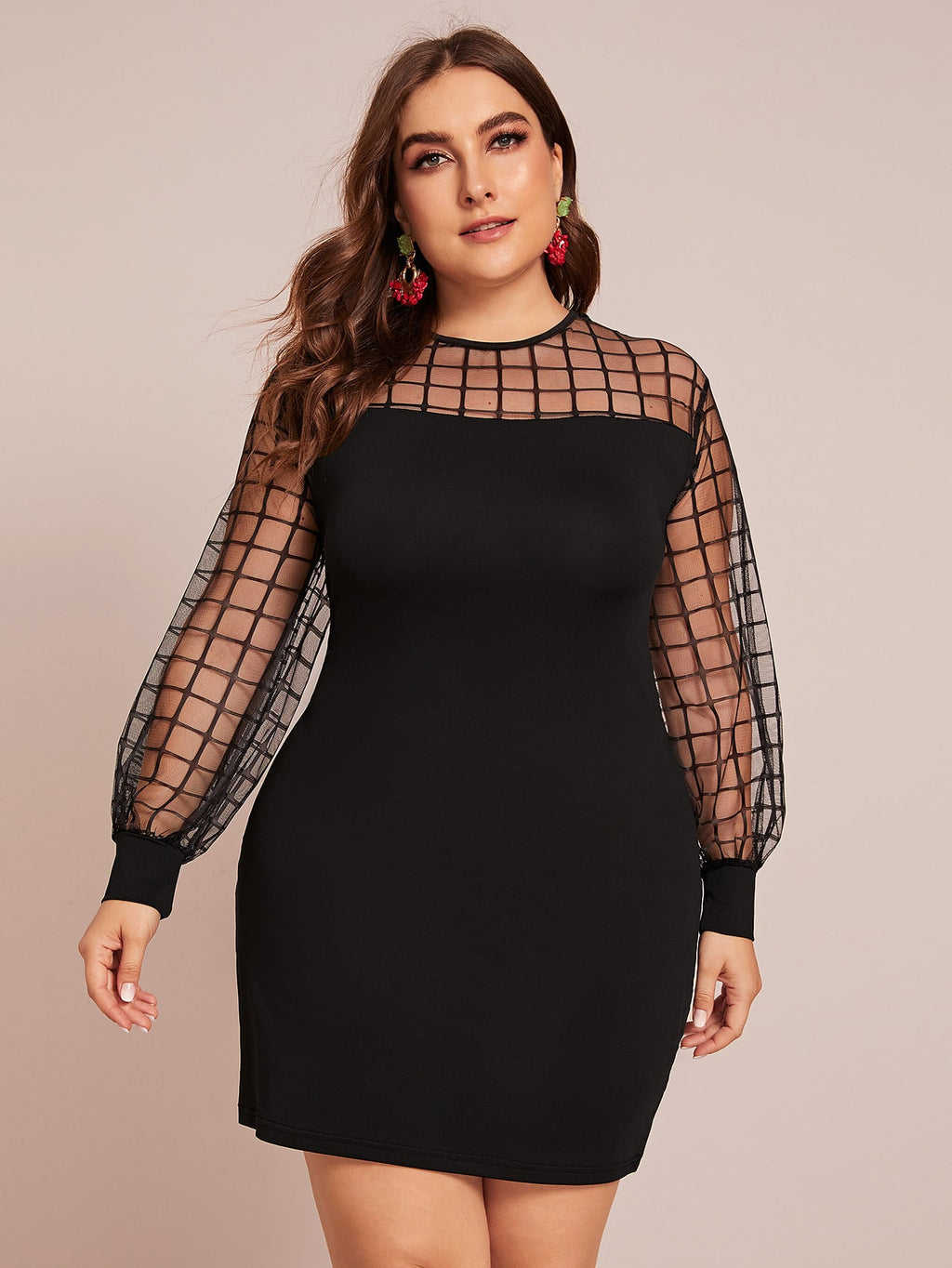 Plus Size Mod Grid Mesh Panel Plaid Dress