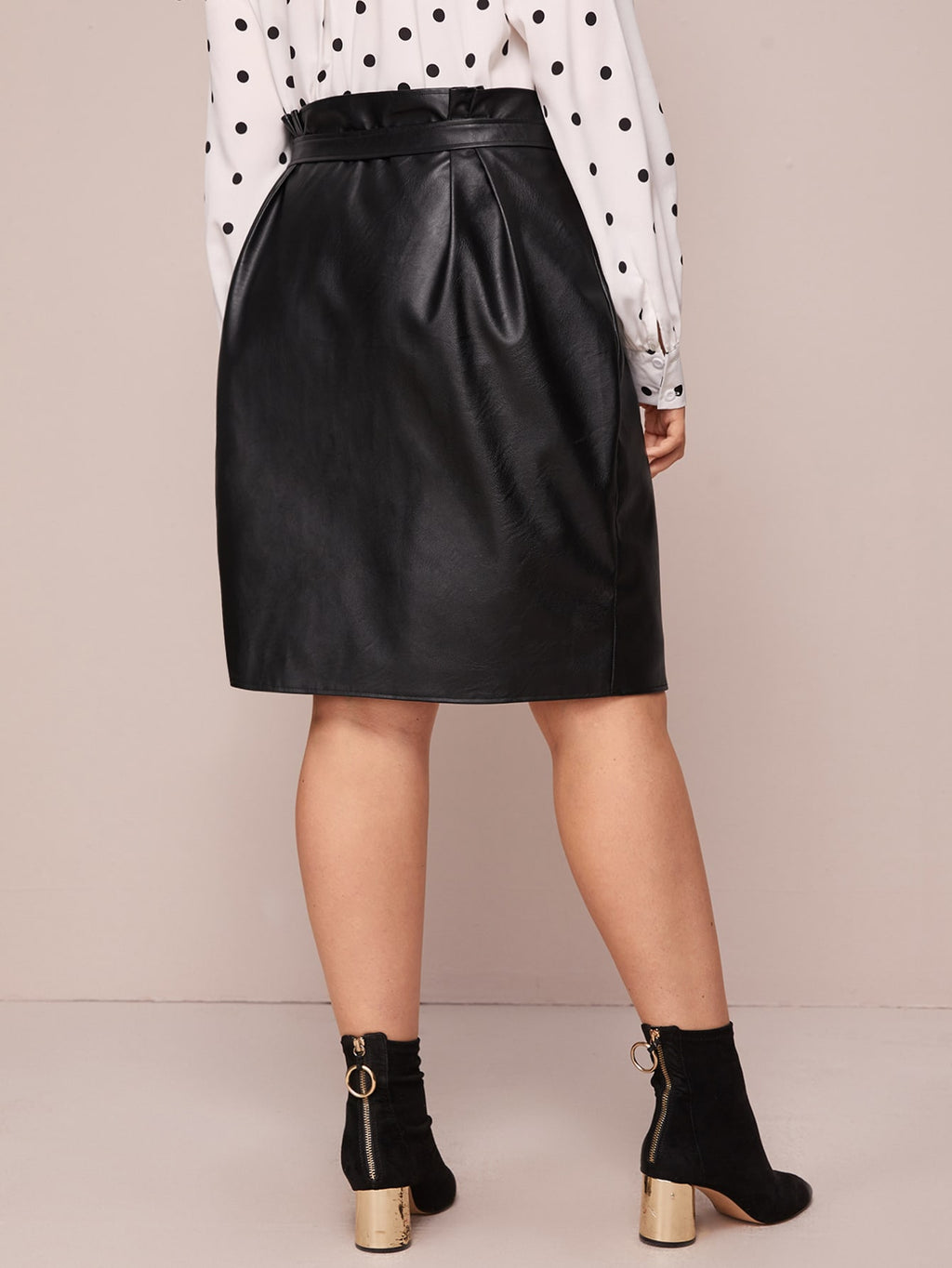 Plus Size Chic PU Leather Self Tie Straight Skirt