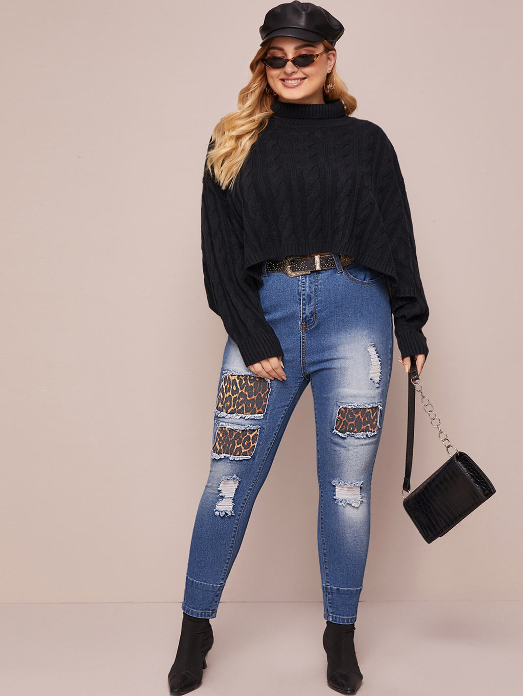 Plus Size Leopard Contrast Ripped Skinny Jeans