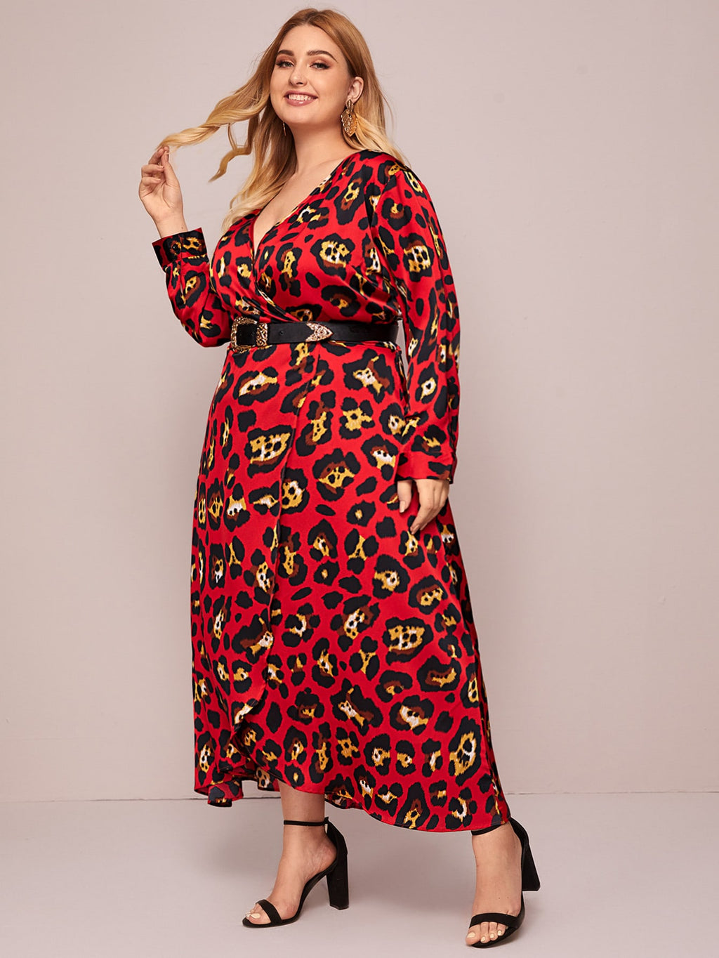 Plus Size Leopard Print Wrap A-line Dress