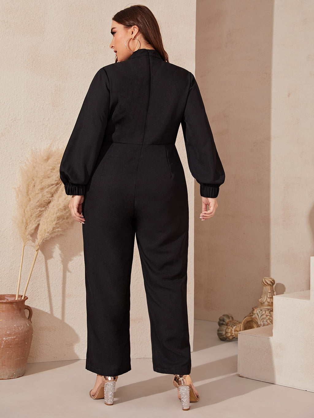 Plus Lantern Sleeve Wide Leg Jumpsuit Without Belt