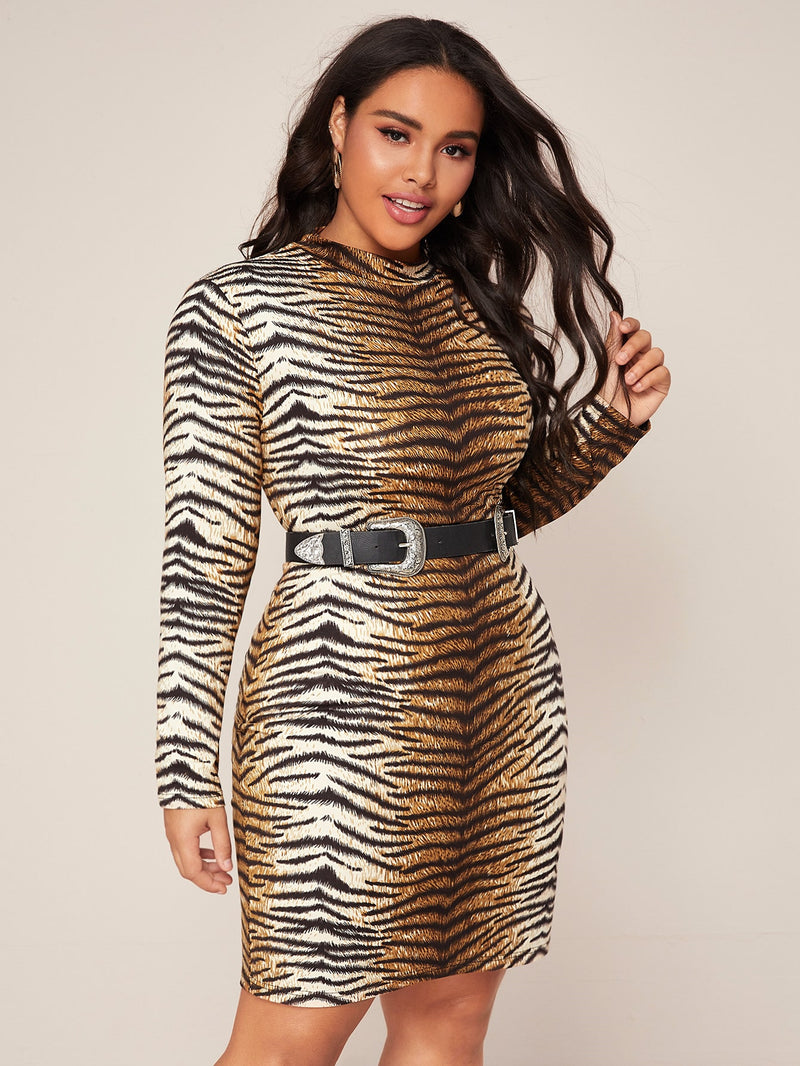 Plus Size Fierce Tiger Mock Neck Dress Without Belt