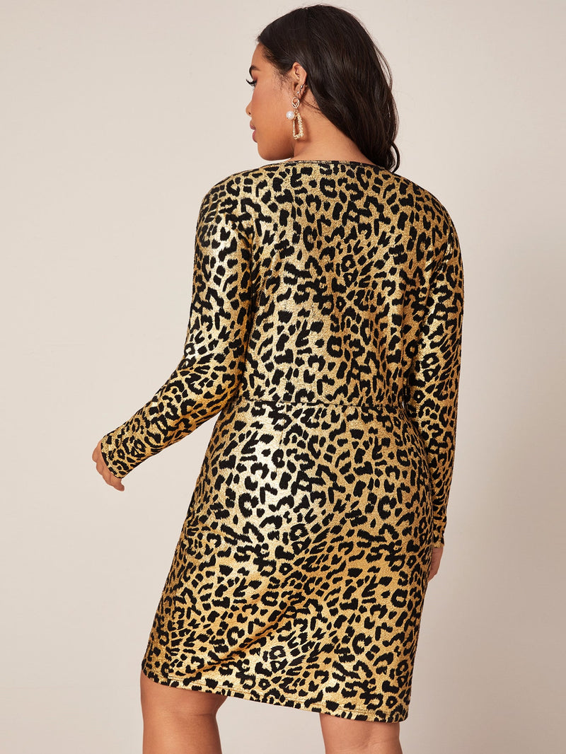 Plus Size Fierce Leopard Surplice Neck Dress