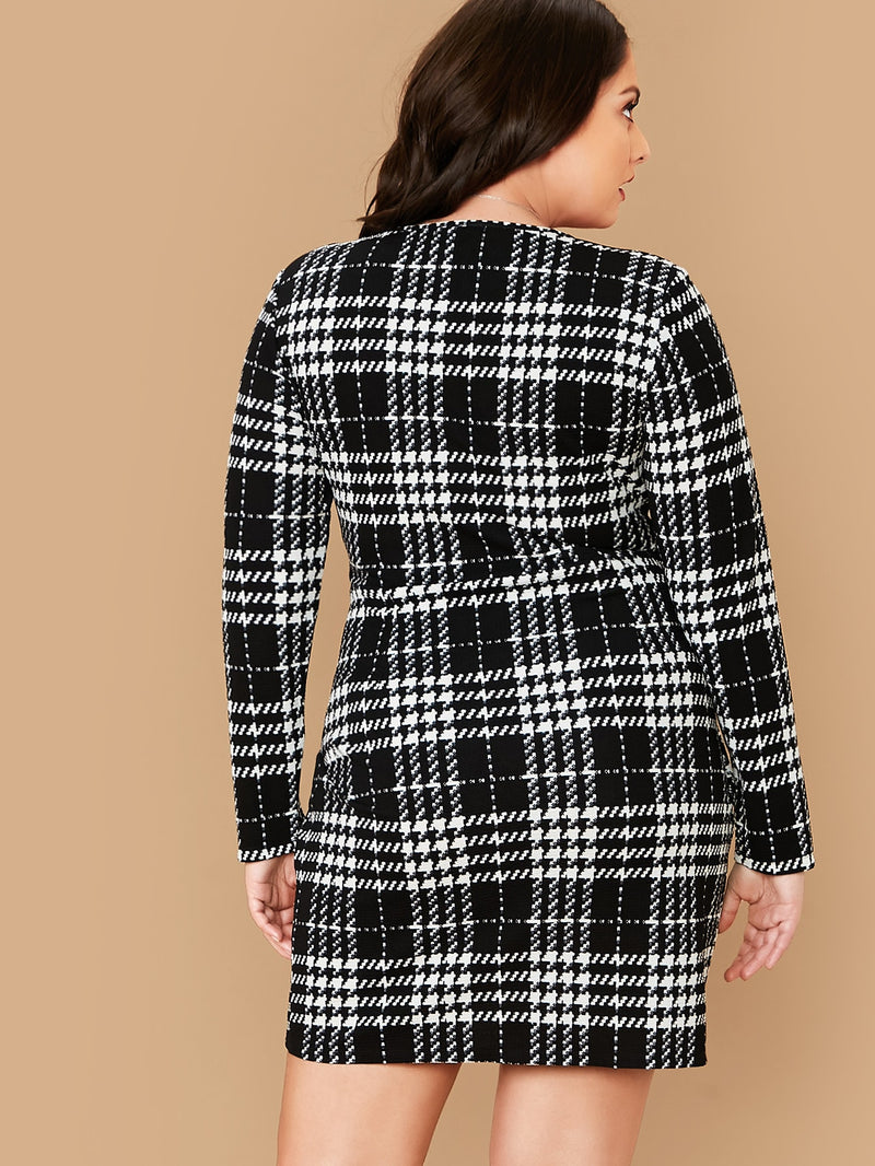 Plus Size Elegant Plaid V Neck Wrap Dress