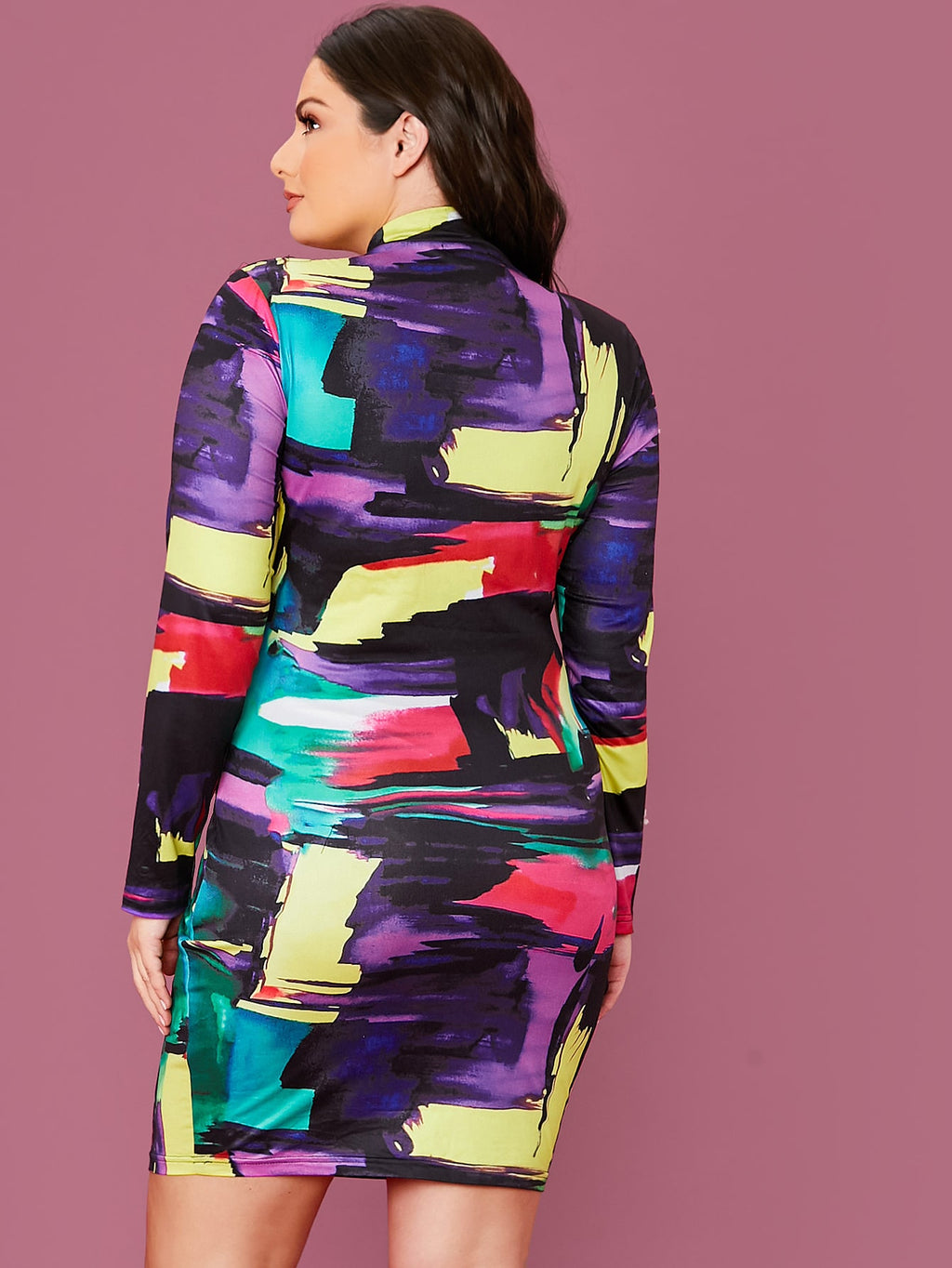 Plus Size Colorful Mock Neck Bodycon Dress