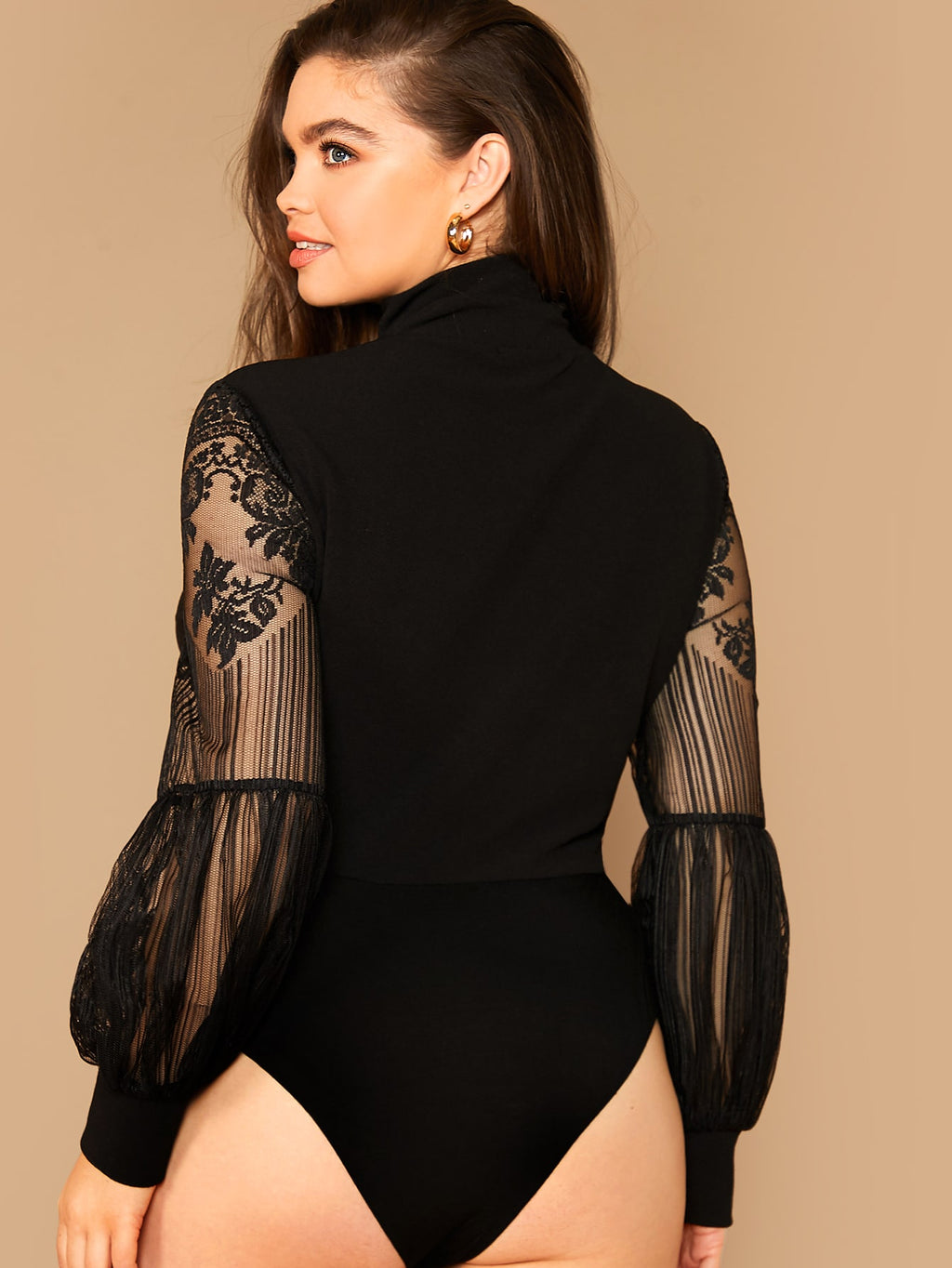 Plus Size Lace Lantern Sleeve Bodysuit Top