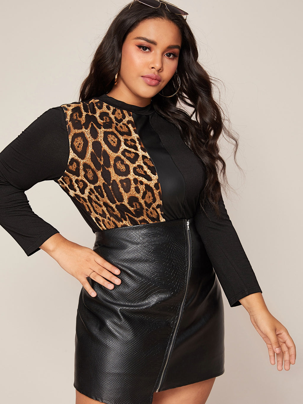 Plus Leopard Print Faux Leather Panel Colorblock Top