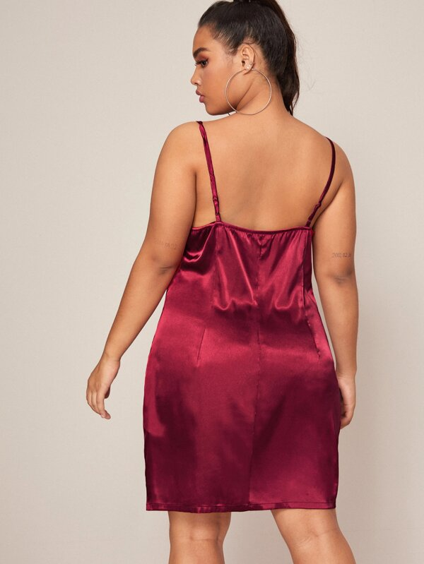 Plus Size Draped Neck Satin Slip Dress