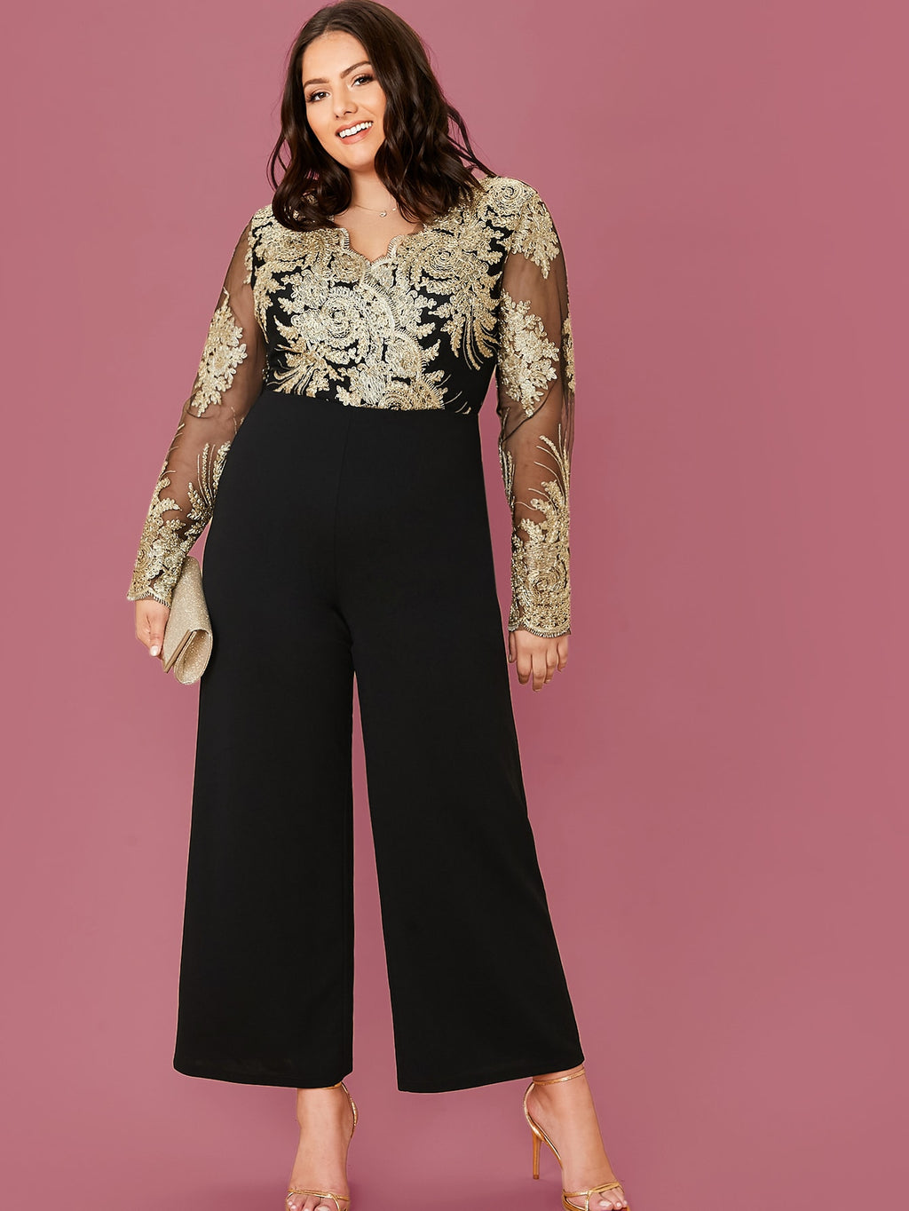 Plus Zip Embroidered Mesh Bodice Wide Leg Jumpsuit