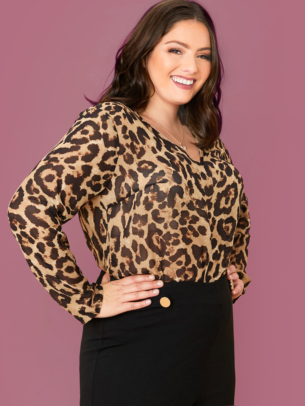 Plus Size Leopard Semi Sheer Top