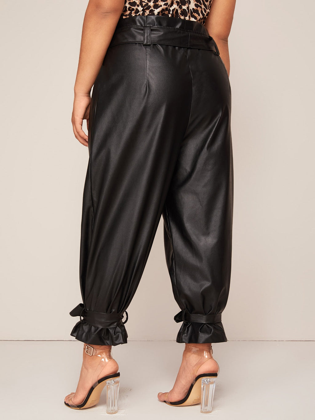 Plus Size Belted Waist & Hem Faux Leather Pants