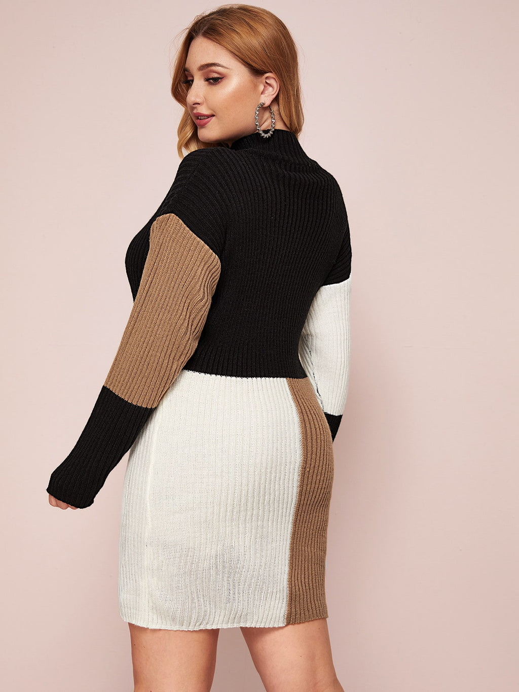 Plus Size Colorblock Rib-knit Sweater Dress