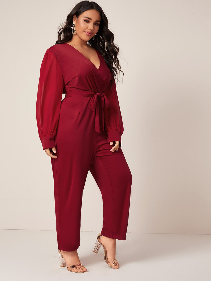 Plus Size Elegant Surplice Front Self Tie Jumpsuit