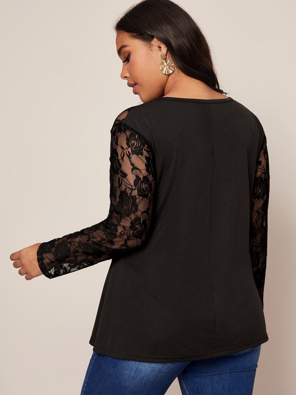 Plus Size Lace Yoke Cut Out Fitted Top