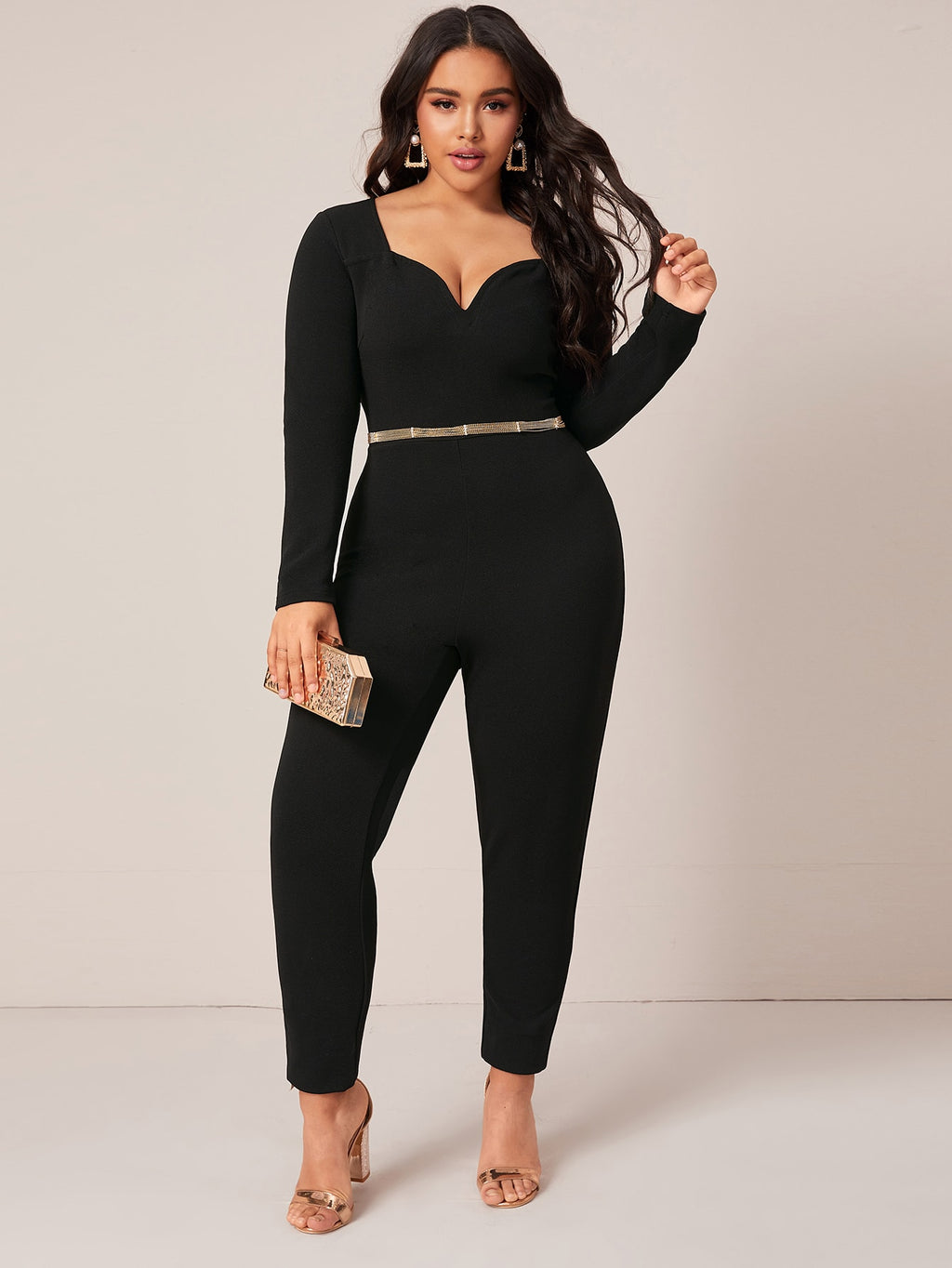 Plus Size Showstopper Sweetheart Neck Fitted Jumpsuit Without Belt